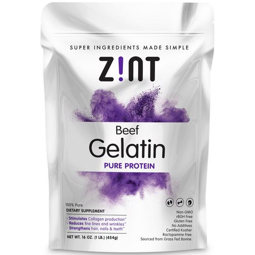 Zint, Beef Gelatin, Pure Protein, 16 oz (454 g) Review