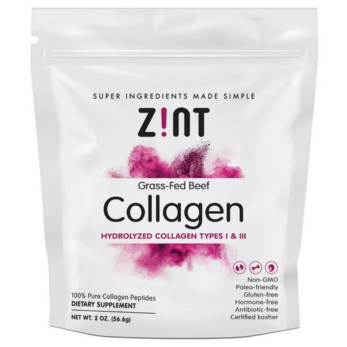 Zint, Grass-Fed Beef Collagen, Hydrolyzed Collagen Types I & III, 2 oz (56.6 g) Review