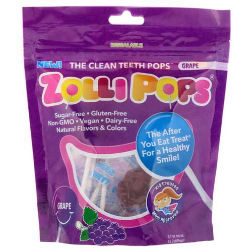 Zollipops, The Clean Teeth Pops, Grape, 15 ZolliPops, 3.1 oz Review