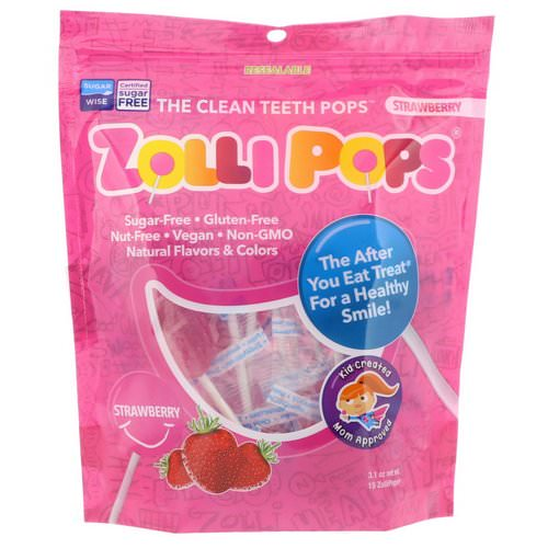 Zollipops, The Clean Teeth Pops, Strawberry, 15 ZolliPops, (3.1 oz) Review