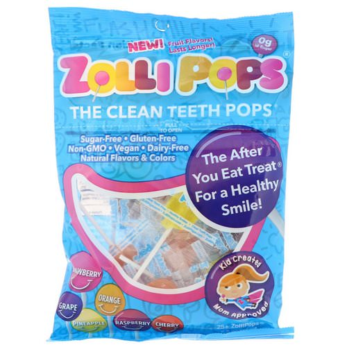 Zollipops, The Clean Teeth Pops, Strawberry, Orange, Raspberry, Cherry, Grape, Pineapple, 25+ ZolliPops, 5.2 oz Review